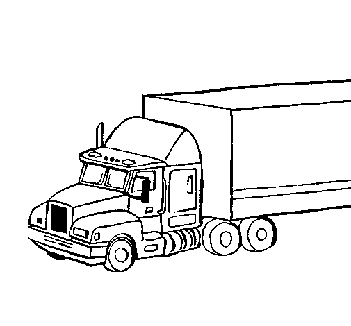 Coloring page Truck trailer painted bylkjs