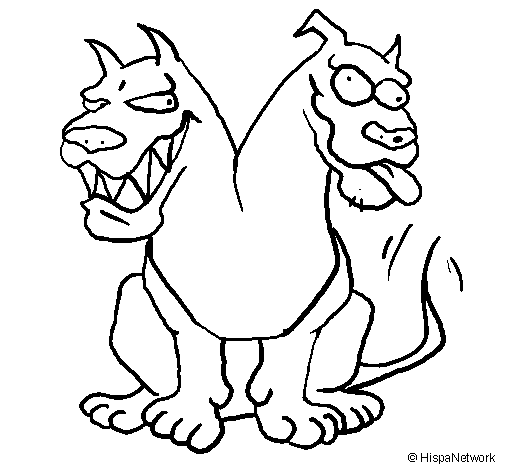 Coloring page Two-headed dog painted byFredBob