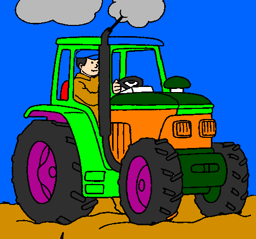 Coloring page Tractor working painted bydenny