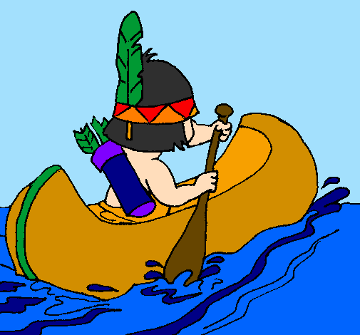 Coloring page Indian paddling painted byPAMELA C.B.