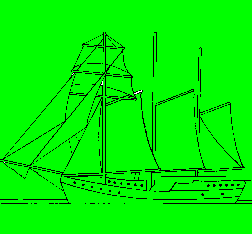 Sailing boat with three masts Colored by luki on October 03 2010