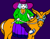 Coloring page Indian on a donkey painted byPAMELA C.B.