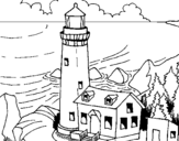 Coloring page Lighthouse painted byvegess