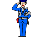 Coloring page Police officer waving painted bypolice