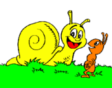 Coloring page Snail and ant painted byLUCHI