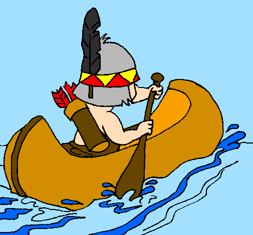 Coloring page Indian paddling painted bycactus