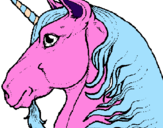 Coloring page Unicorn head painted byines