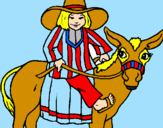 Coloring page Indian on a donkey painted byButterfly