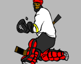 Coloring page Goaltender stopping puck painted bygrady