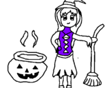 Coloring page Witch painted byButterfly