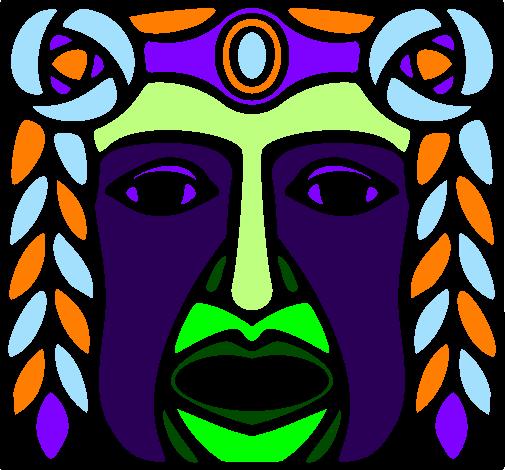 colored page maya mask painted by mayan mask