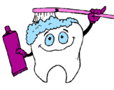 Coloring page Tooth cleaning itself painted bymerlia