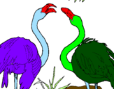 Coloring page Flamingos painted byanaluizarodrigues