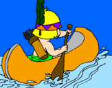Coloring page Indian paddling painted byadria b