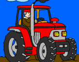 Coloring page Tractor working painted bymn