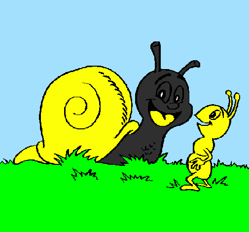 Coloring page Snail and ant painted byMN