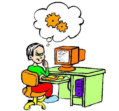 Coloring page Computer expert thinking painted byElla