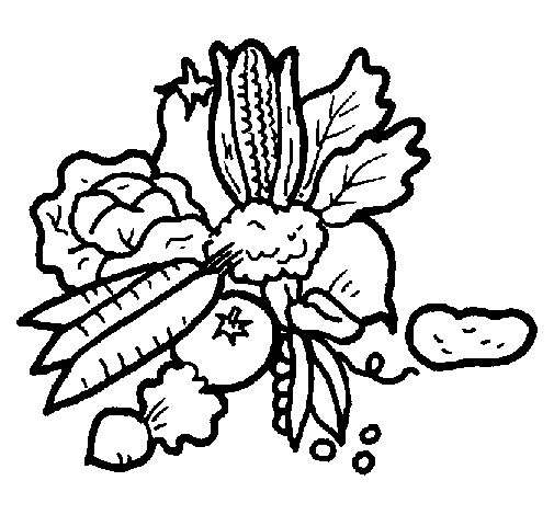 Coloring page vegetables painted byLauren
