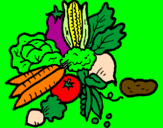 Coloring page vegetables painted byapril