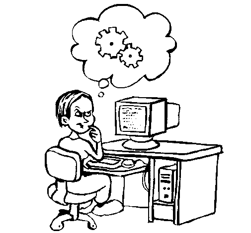 Coloring page Computer expert thinking painted bySelene