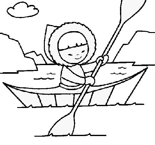 Coloring page Eskimo canoe painted bymaite