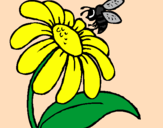 Coloring page Daisy with bee painted byMarga