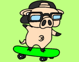 Coloring page Graffiti the pig on a skateboard painted bypig