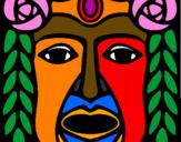 Coloring page Maya  Mask painted bytikeria08