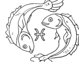 Coloring page Pisces painted bynena