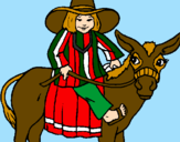Coloring page Indian on a donkey painted bylolita
