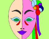 Coloring page Italian mask painted bytami
