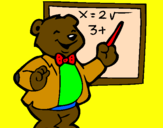 Coloring page Bear teacher painted bylana