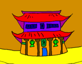 Coloring page Japanese temple painted bynicolette