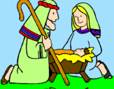 Coloring page Worshipping baby Jesus painted byreyna