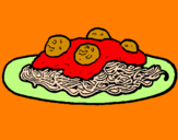 Coloring page Spaghetti with meat painted byjessica.d