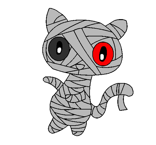 Coloring page Doodle the cat mummy painted byemo mummy kat