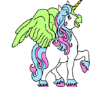 Coloring page Unicorn with wings painted bydani