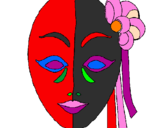 Coloring page Italian mask painted bySilvia