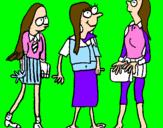 Coloring page Schoolgirls painted byteresa