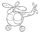 Coloring page Decorated helicopter painted byFOFO