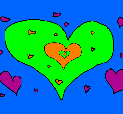 Coloring page Hearts painted byKayla