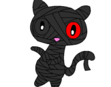 Coloring page Doodle the cat mummy painted bycute emo mummy kat