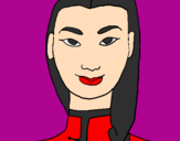 Coloring page Young Chinese woman painted bychico