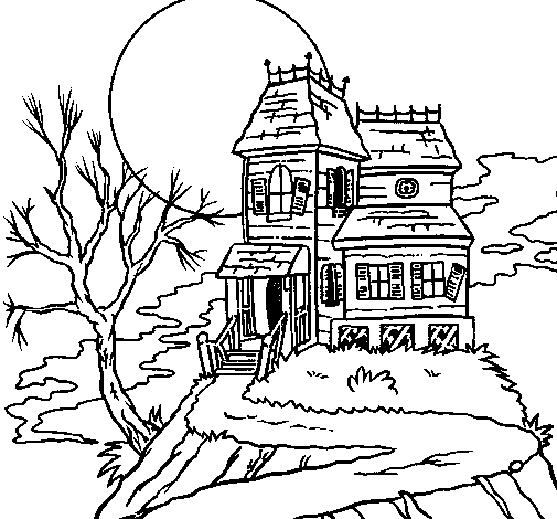 Coloring page Haunted house painted byMichael