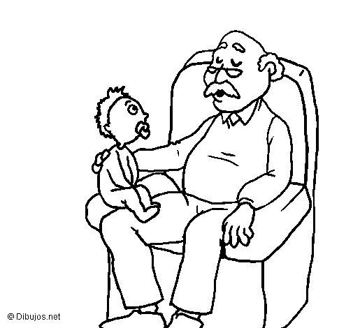 Coloring page Grandfather and grandchild painted bymart