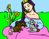 Coloring page Princess of the forest painted bymegan