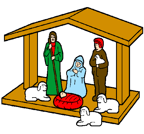 Coloring page Christmas nativity painted byroy