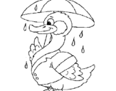 Coloring page Duck in the rain painted byyuan