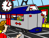 Coloring page Railway station painted byDANIEL