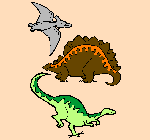 colored page three types of dinosaurs painted by marga. Black Bedroom Furniture Sets. Home Design Ideas